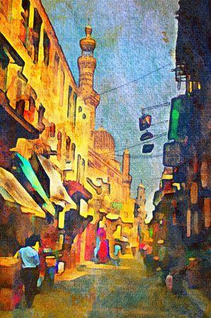 origianl oil painting of egypt cairo market place Stock Photo