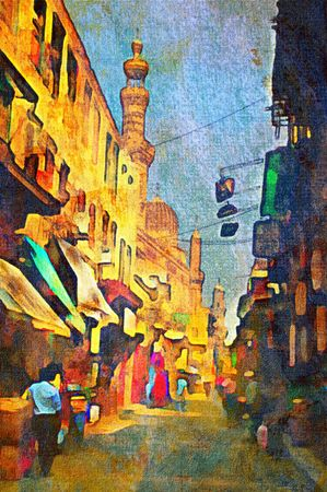 canvas painting: origianl oil painting of egypt cairo market place Stock Photo