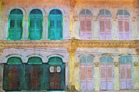original oil painting of random singapore shutter windows photo