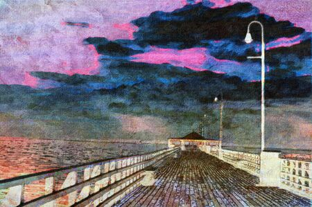original oil painting of wooden beach pier background  photo