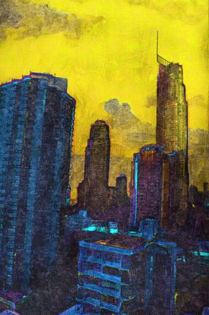 australia landscape: Oil painting of unrecognisable city buildings and landscape