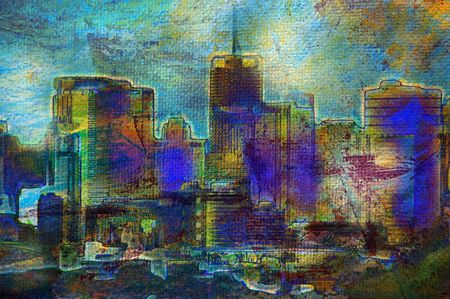 abstract paintings: Oil painting of unrecognisable city buildings and landscape