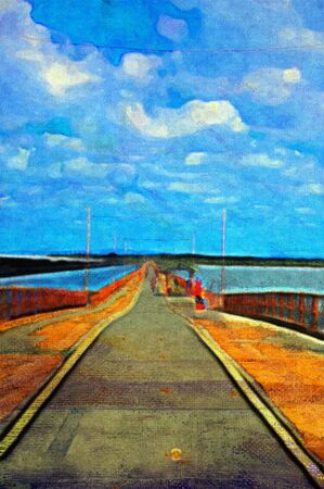 original oil painting of long pier on stretched canvas Stock Photo