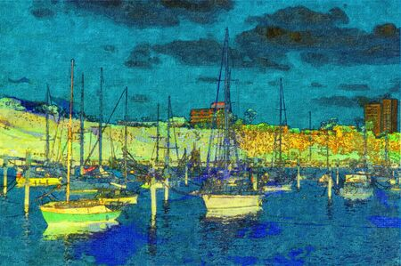 original oil painting of boats moored on stretched canvas photo