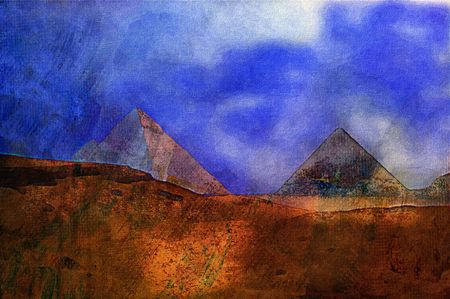 desert storm: Original oil painting great pyramid of eygpt cairo  Stock Photo