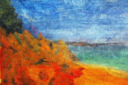 impressionism: original oil painting of beach ocean scene