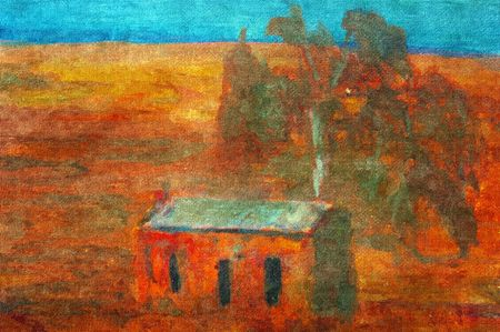 oil crops: original oil painting of bush outback shack