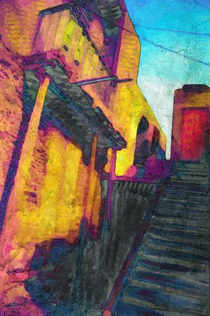 Original painting of cairo egypt street scene  photo