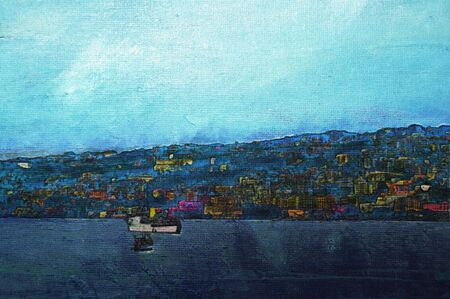 naples: original oil painting of the bay of naples Stock Photo