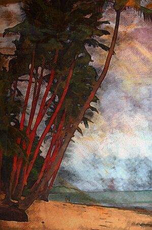 fiji: original oil painting of fiji island palm trees