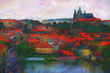 famous painting: Original oil painting of Charles Bridge in Prague Stock Photo