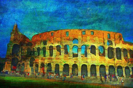 Pittura ad olio originale del Colosseo Romano  Archivio Fotografico