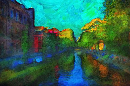 oil painting of amsterdam canal early morning light Stock Photo - 6997422