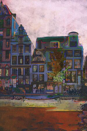 oil painting of amsterdam canal early morning light Stock Photo - 6997450
