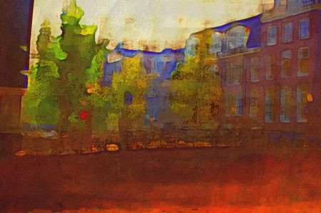 oil painting of amsterdam canal early morning light photo