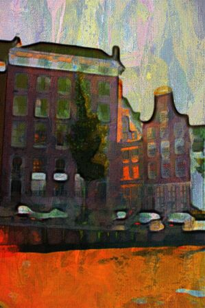 canal: oil painting of amsterdam canal early morning light