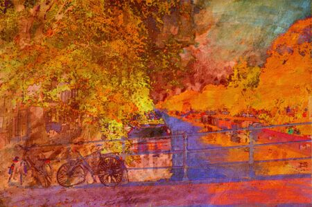 oil painting of amsterdam canal early morning light Stock Photo - 6997456