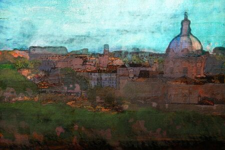 original oil painting of the roman colosseum and forum photo