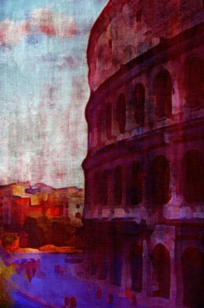 amphitheatre: original oil painting of the roman colosseum Stock Photo