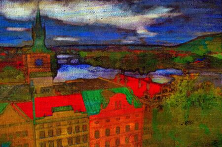 Original oil painting of Prague old center Stock Photo - 6997449