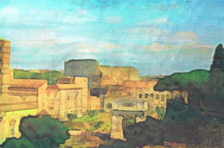 original oil painting of the roman colosseum and forum