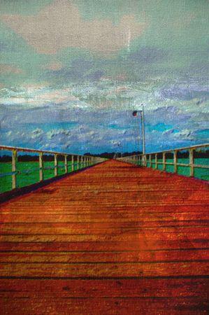 original oil painting of hervey bay empty long wooden pier  photo