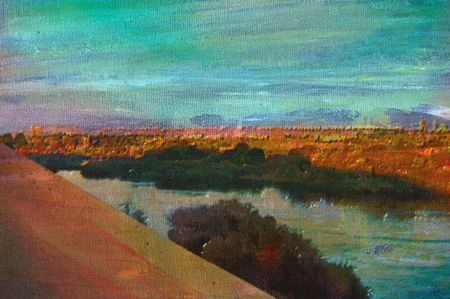 nile river: original oil painting of Overlooking the tourist town of aswan