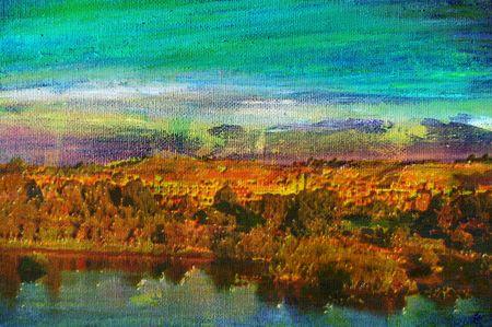 paisaje mediterraneo: pintura al óleo original de sobre la ciudad turística de aswan