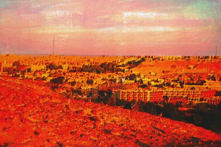 original oil painting of Overlooking the tourist town of aswan