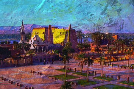 nile river: original oil painting of  Abu al-Haggag Mosque  Stock Photo