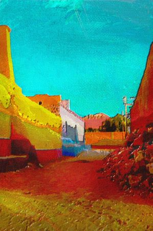 african village: original oil painting of Nubian village in bright santa fe colors