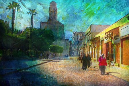 cairo: original oil painting of Khan El Khalili bazaar area cairo egypt