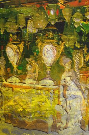market place: origianl oil painting of egypt cairo market place Stock Photo