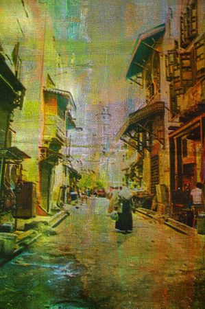 origianl oil painting of egypt cairo market place photo