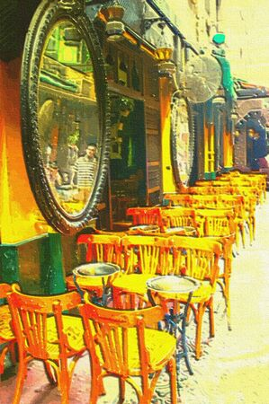 impressionism: original oil painting of empty coffee shop and smoke house Stock Photo