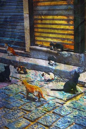 depiction: original oil painting of some stray cats
