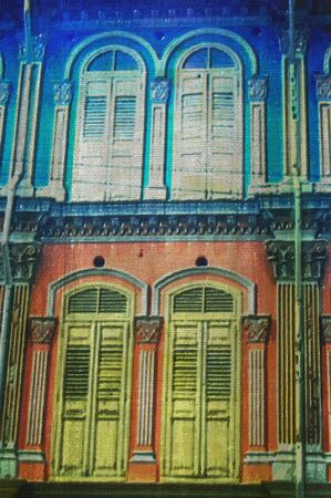 chinatown: original oil painting of random singapore shutter windows