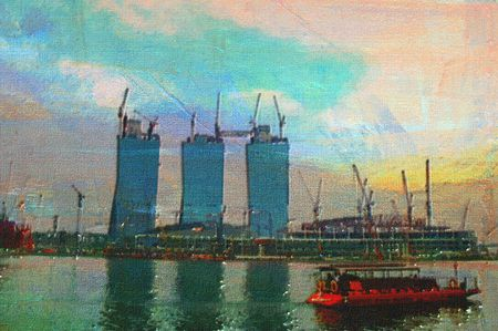 erection: original oil painting of random office city buildings Stock Photo