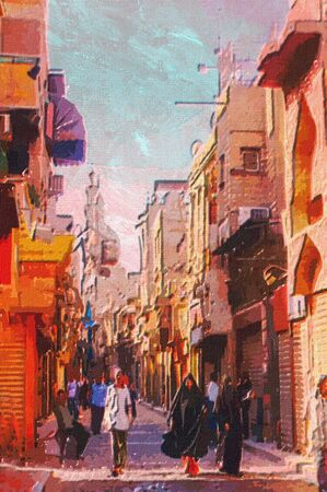 abstract painting: origianl oil painting of egypt cairo market place Stock Photo