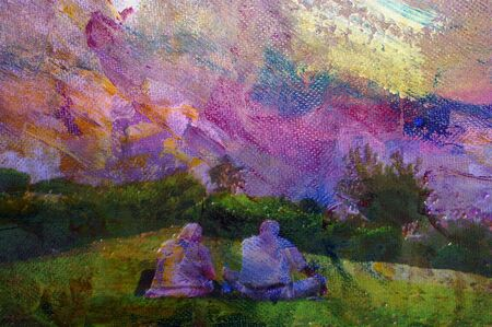 original oil painting of old muslim couple in park photo
