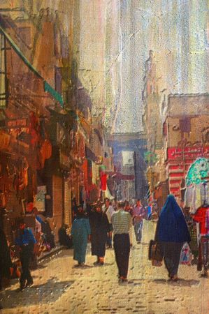 gold souk: origianl oil painting of egypt cairo market place Stock Photo
