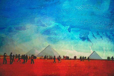 cairo: Original oil painting great pyramid of eygpt cairo  Stock Photo