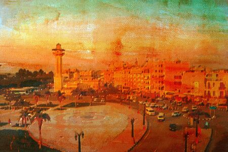 original oil painting of  luxor downtown area photo