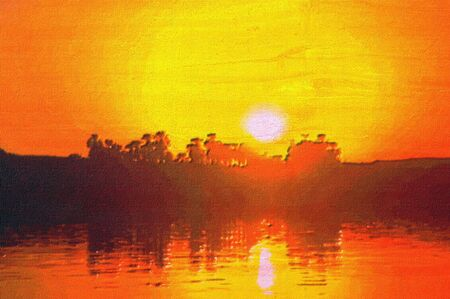 nile river: original oil painting of golden sunset on the nile Stock Photo