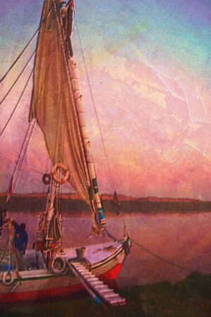 nile river: original oil painting of A Felucca on the nile