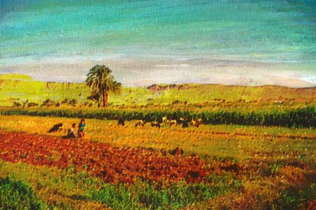 oil crops: original oil painting of father and son in farm field Stock Photo