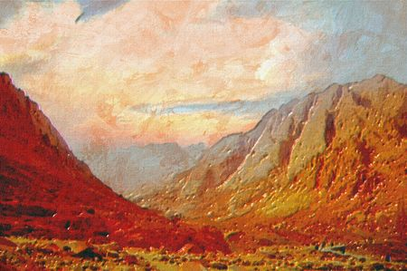 mountain landscape original oil painting of the mount sinai region photo