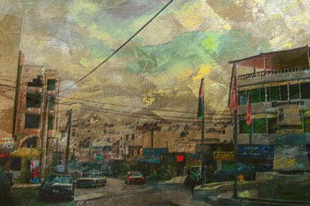 DOWN TOWN: original oil painting of down town wadi musa Stock Photo