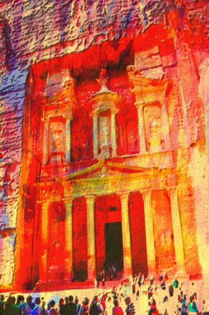 pink hills: original oil painting of petra jordan treasury building