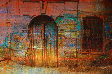 original oil painting of  old Arabic architecture  photo